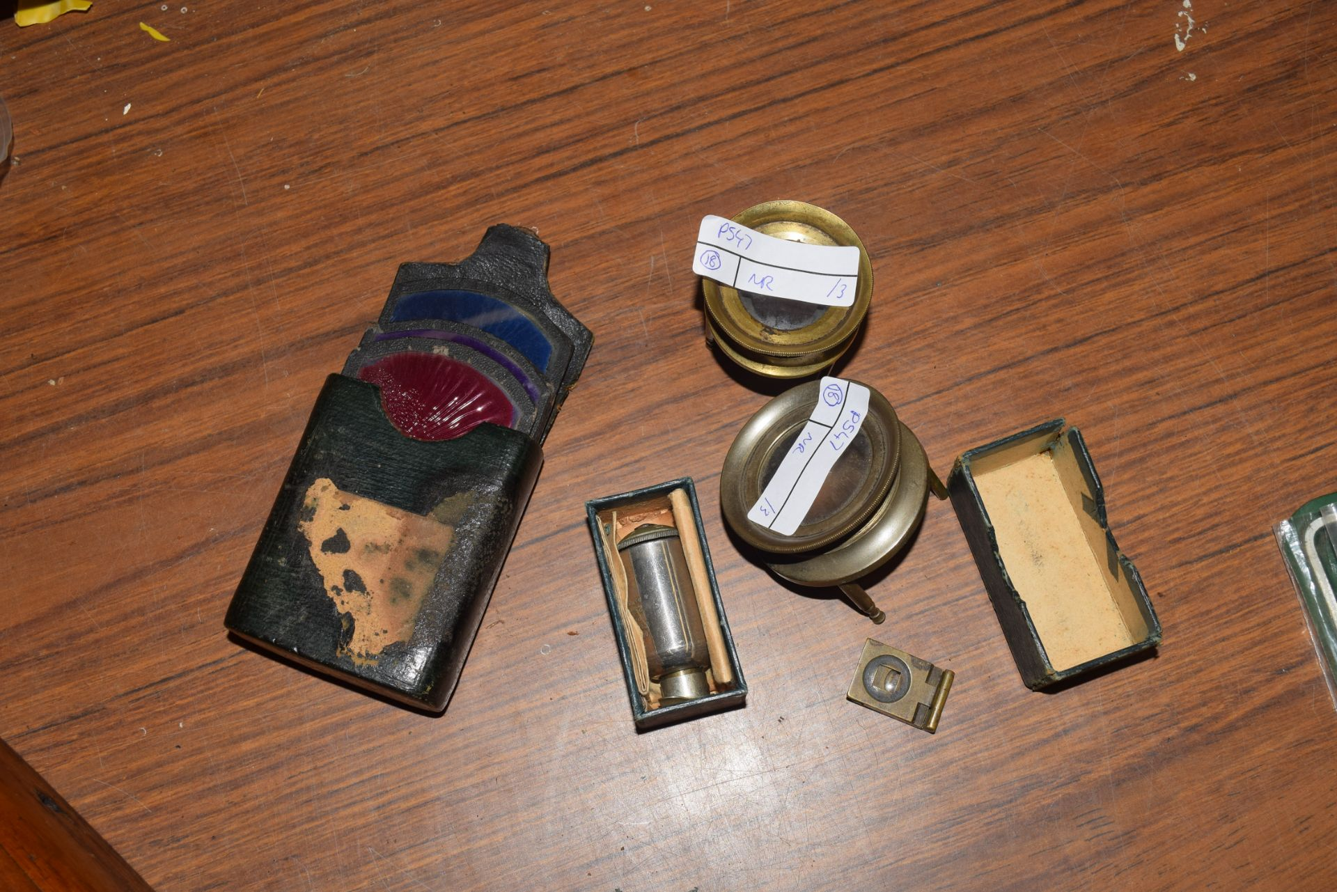 Mixed lot comprising Riffins of London, Fortex time valve, two vintage lenses and a case of colour