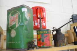 Selection of oil cans, one marked Castrol Motor Oil plus two others