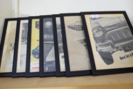 Quantity of framed advertising prints taken from The Autocar magazine