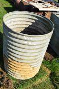 Galvanised ribbed water tank