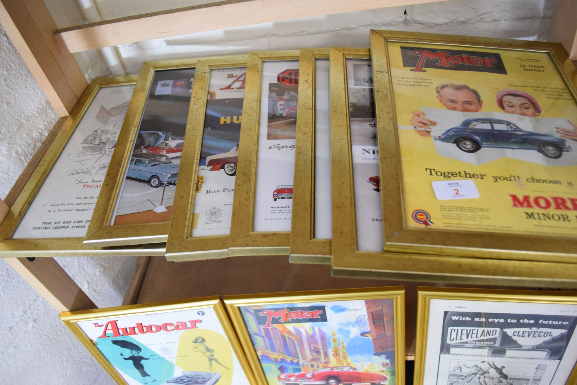 Quantity of framed magazine advertising prints from The Autocar magazine for MG and Morris cars