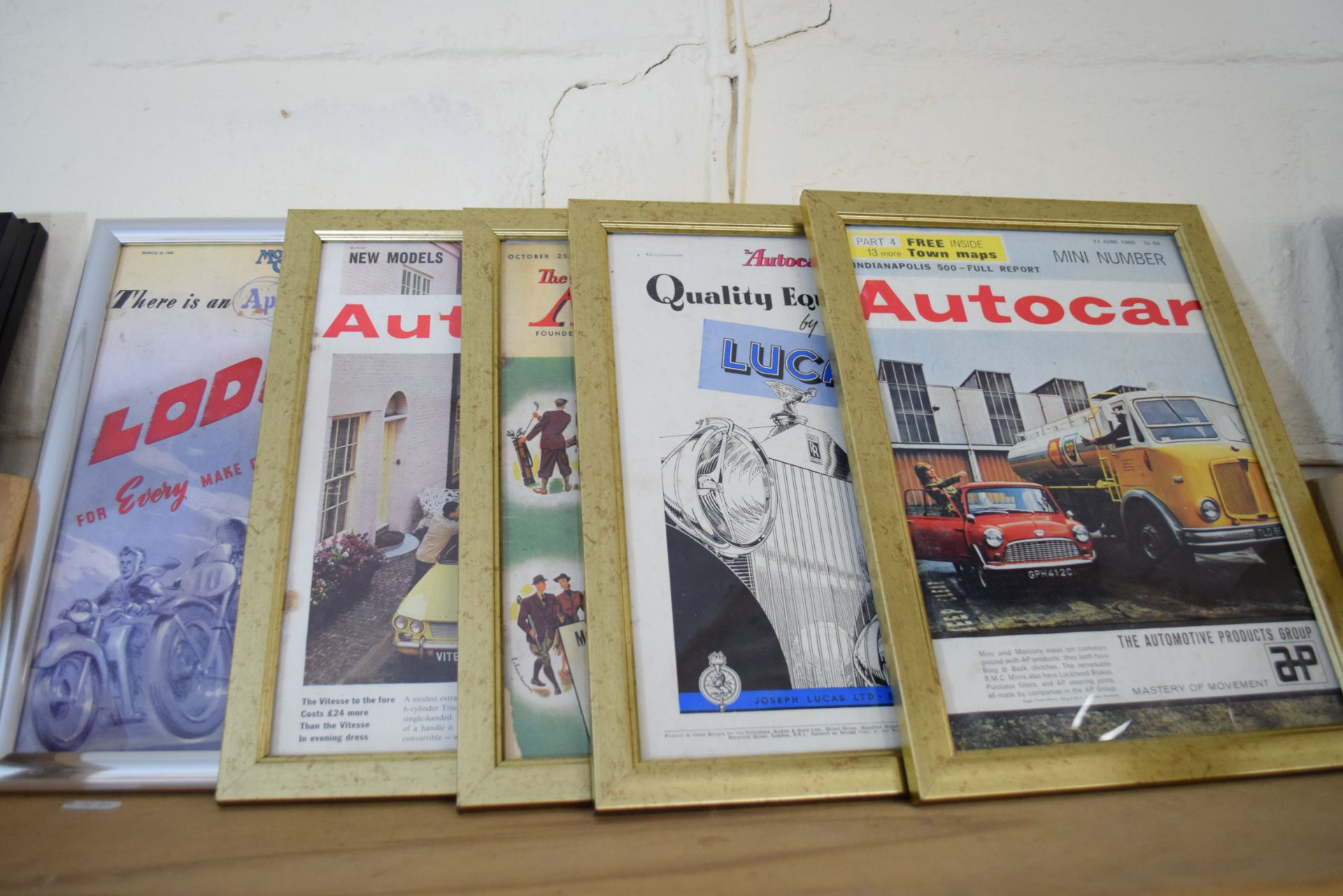 Quantity of framed advertising prints taken from a magazine on motorcycling - Image 5 of 5