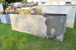 Very large galvanised water tank with riveted construction, approx 304cm long
