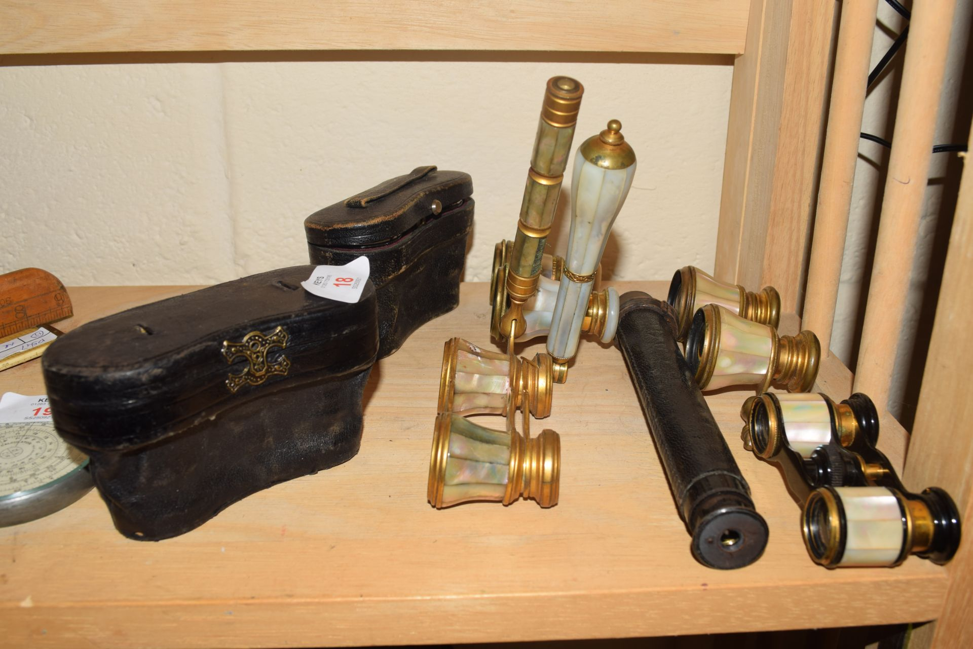 Collection of six pairs of various opera glasses to include mother of pearl mounted examples,