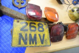 Pair of Thames Trader back lights with number plate