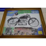Framed motorcycle interest print, various clippings from magazines