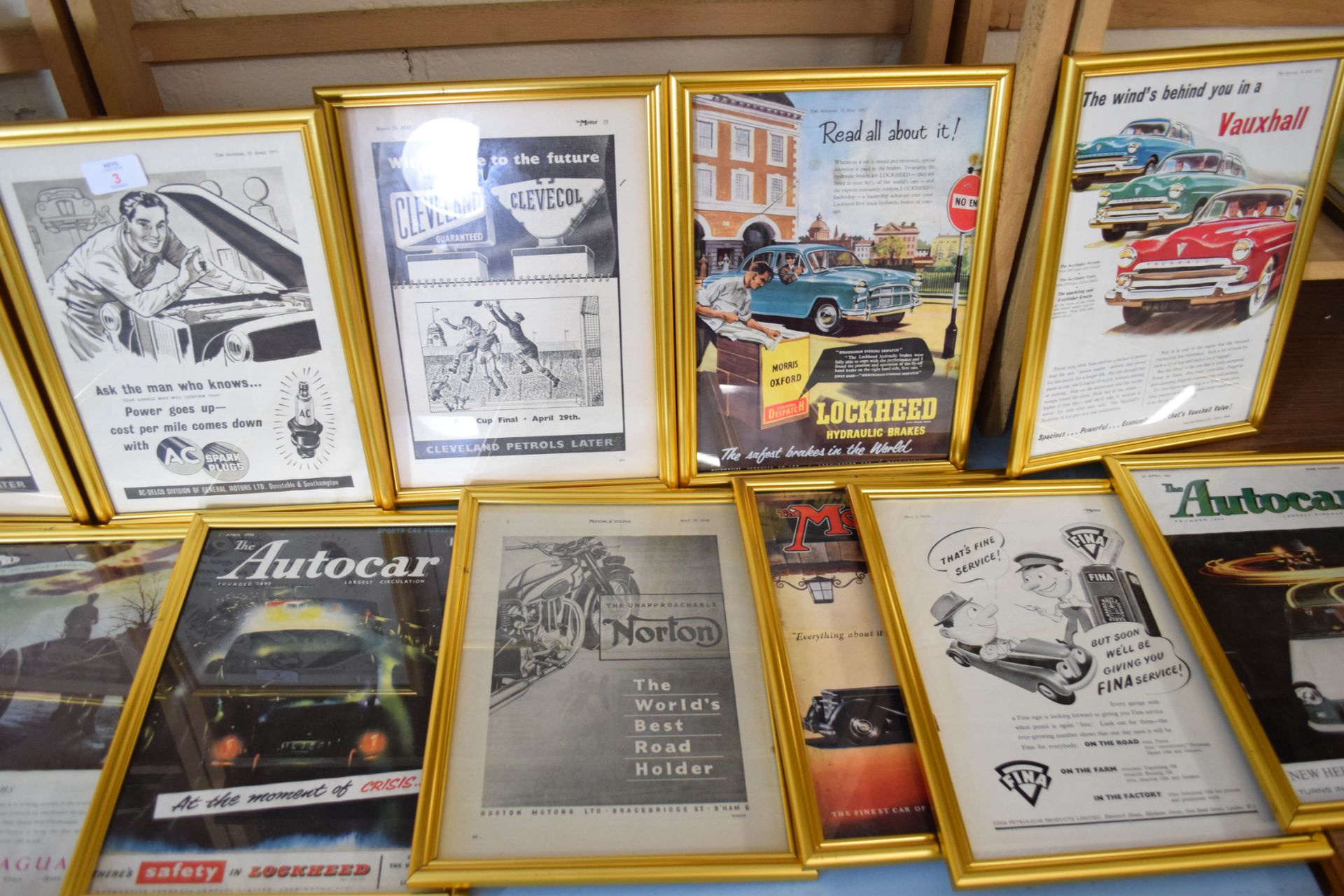 Large quantity of framed magazine advertising prints from The Autocar and The Motor magazines to - Image 3 of 3