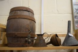 Small oak water/wine barrel with half pint tin jug and two funnels