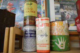 Quantity of storage tins, Castrol, Welfare Food Service etc