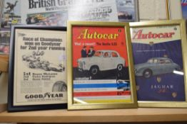 Three advertising prints taken from The Autocar