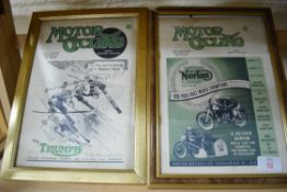 Two advertising prints, one for Triumph, one for Norton
