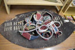Quantity of indigenous style beaded belts etc