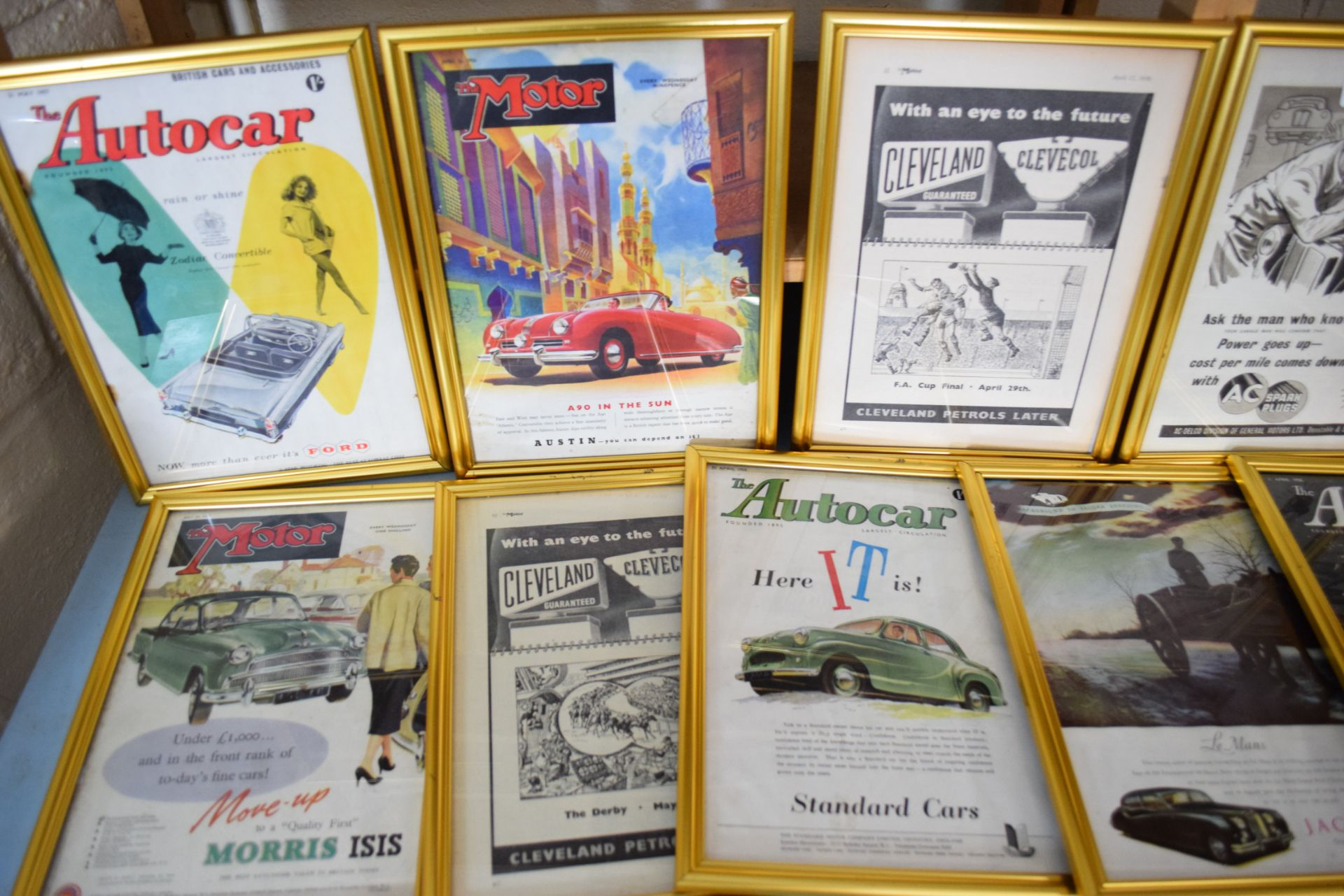 Large quantity of framed magazine advertising prints from The Autocar and The Motor magazines to - Image 2 of 3