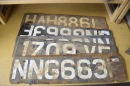 Quantity of vintage number plates