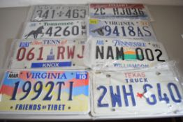 Six American style number plates