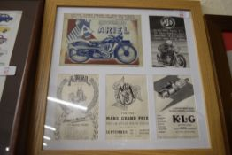 Collection of advertising prints, motorbike related