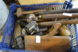 Box containing carpentry tools including spoke shaves etc