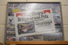 Marlboro British Grand Prix print, width 60cm