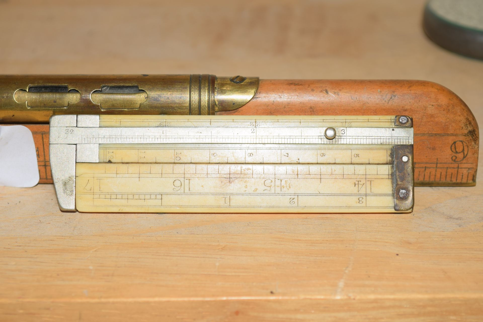 Vintage Vernier caliper gauge together with a Smallwood of Birmingham wood and brass mounted - Image 2 of 2