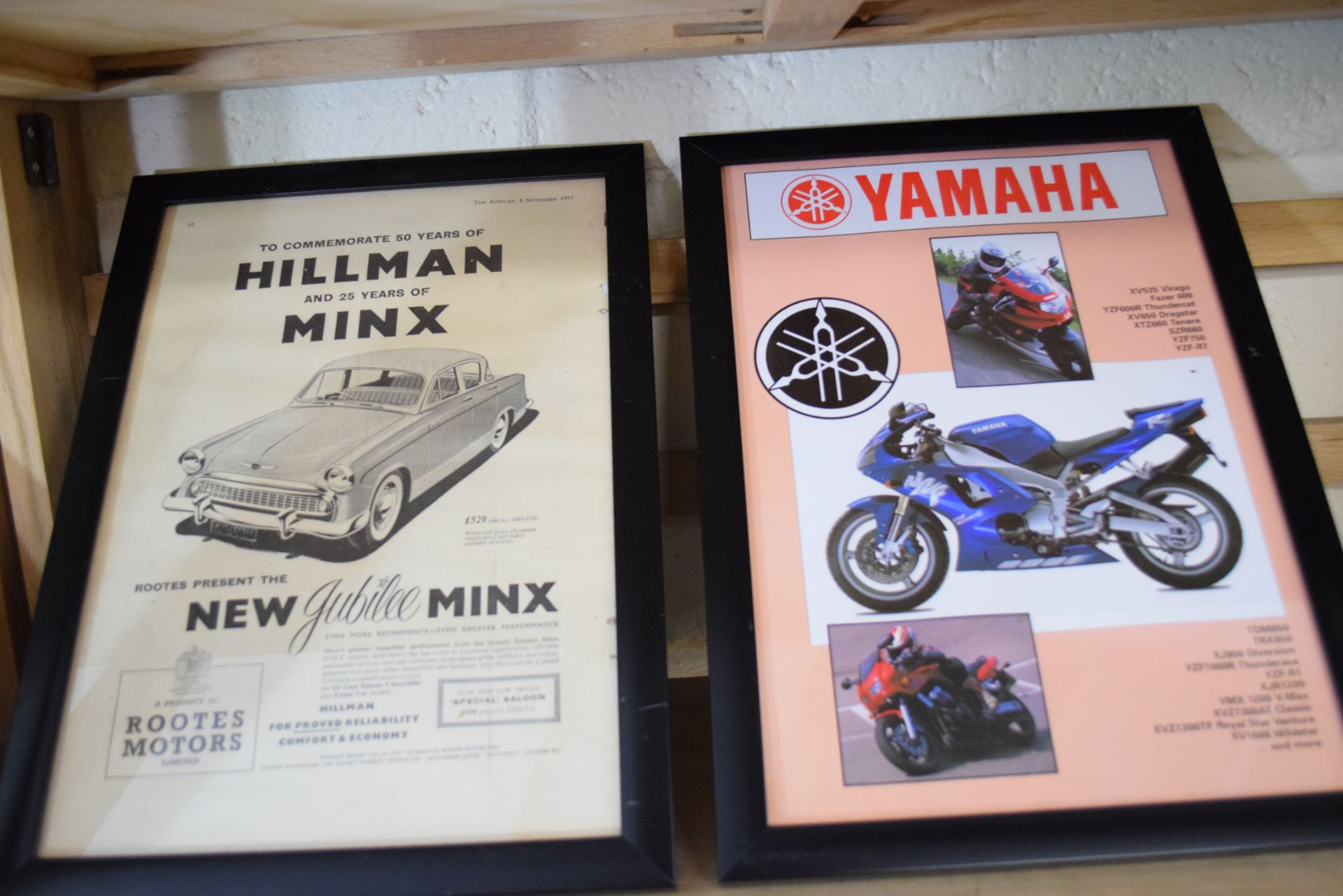 Quantity of framed advertising prints taken from a magazine for Yamaha motorbikes, BMC Service etc - Image 5 of 7