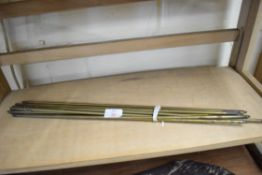 Quantity of brass rods, approx 53cm long