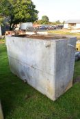 Large vintage galvanised and riveted water tank, 213cm long