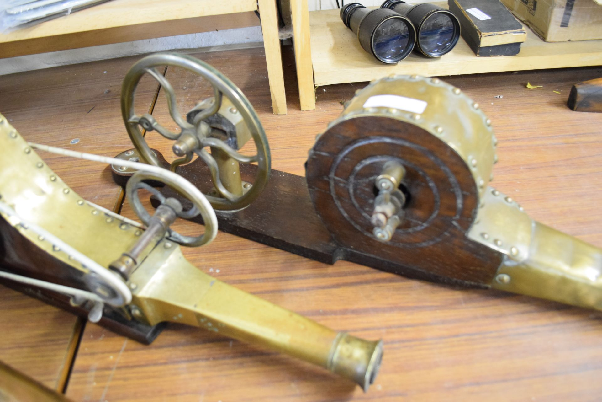 Collection of three 19th century brass or copper mounted mechanical fire bellows, bearing makers - Image 3 of 3