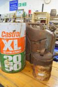 Castrol oil can, jerry can and Pink Panther can