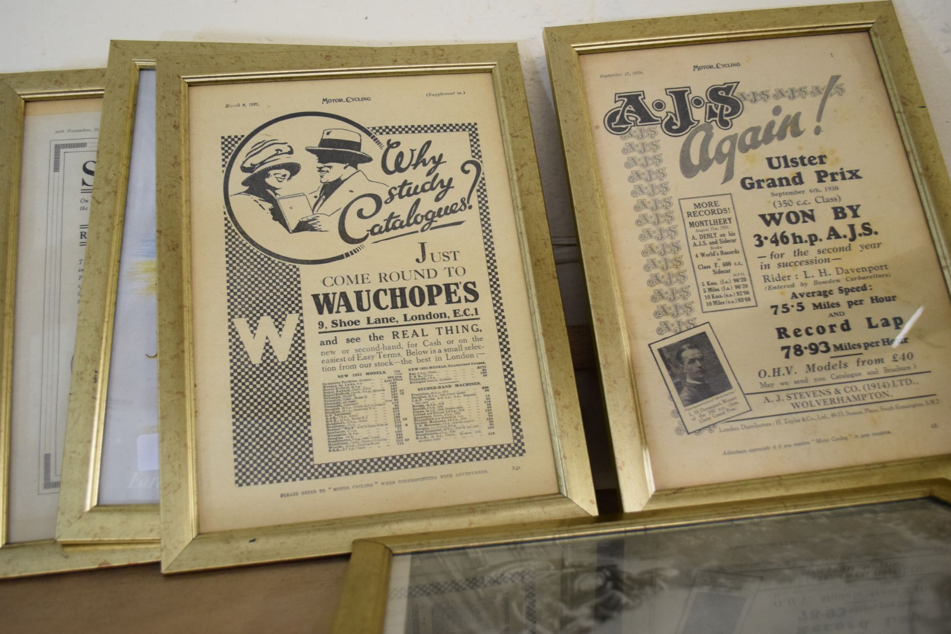 Quantity of framed advertising prints taken from a magazine on motorcycling - Image 3 of 5