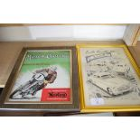 Pair of advertising prints taken from magazines - Norton Motorcycles and Vauxhall cars
