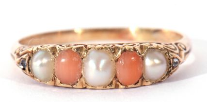 Vintage pearl and coral bead ring, alternate set with three split seed pearls and two coral beads,