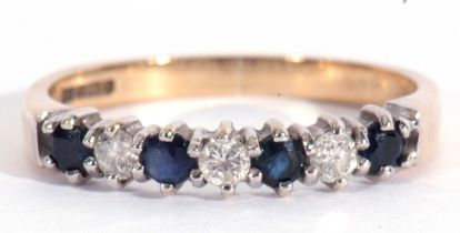 Modern 9ct gold diamond and sapphire ring, alternate set with four small round sapphires and three