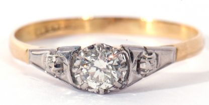 Precious metal single stone diamond ring, a round brilliant cut diamond, 0.25ct approx, raised