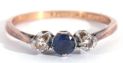 Small sapphire and diamond ring, centring a round sapphire between two small brilliant cut diamonds,
