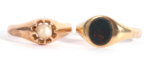 Mixed Lot: two yellow metal ring, a gents signet ring with a bloodstone panel, together with a