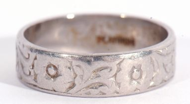 Platinum band with chased and engraved detail, 5.8gms, size L/M
