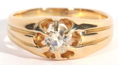 Diamond single stone ring featuring a cushion cut old diamond 0.60ct approx, claw set in an openwork