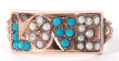 Antique turquoise and seed pearl 'Love' ring, a design featuring alternate letters set with small
