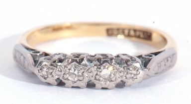 18ct and Plat stamped four stone diamond ring featuring four small single cut diamonds, each