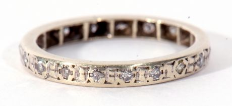 Precious metal and diamond full eternity ring set throughout with small single cut diamonds, size