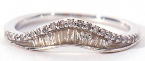 Modern precious metal diamond wishbone ring set with baguette and single stone diamonds, stamped