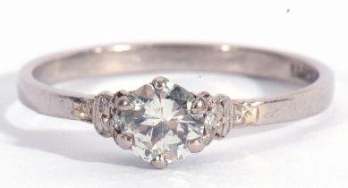 Precious metal single stone diamond ring, the round brilliant cut diamond 0.50ct approx, raised