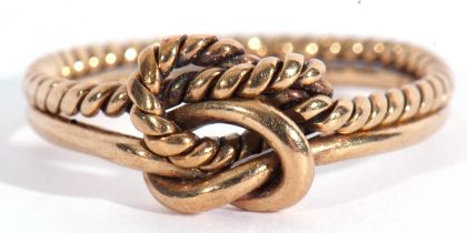 9ct gold Celtic design ring, having articulated plain shank and rope twist shank, size L, g/w 2.