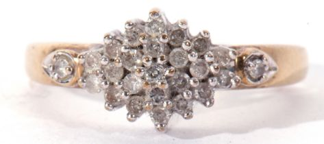 Modern 9ct gold and diamond cluster ring, a design with three graduated tiers of small diamonds,