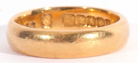 22ct gold wedding ring of plain polished design, engraved with initials and dated 25, Glasgow