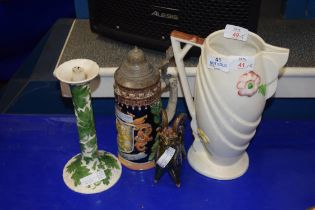 MIXED LOT COMPRISING A GERMAN BEER STEIN, PORTUGUESE CANDLESTICK, ART POTTERY MODEL RAM AND AN ART
