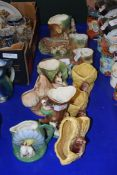 COLLECTION OF SILVAC, HORNSEA AND WITHERNSEA VASES AND CROCUS POTS, ALL WITH ANIMAL DECORATION