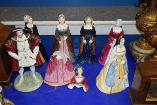 COALPORT 'HENRY VIII AND HIS SIX WIVES' MODELS (SOME A/F)