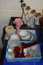 THREE SMALL BOXES CONTAINING EGGSHELL TEA WARES, GLASS VASES, CANDLESTICKS ETC