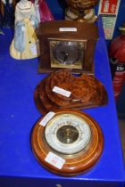 SMALL ANEROID BAROMETER BEARING RETAILERS MARK FOR A E COE & SON, NORWICH TOGETHER WITH A BURR